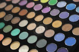a multicolored cosmetic palette